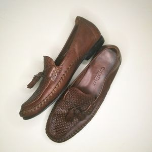 Cole Haan Country brown woven leather loafers